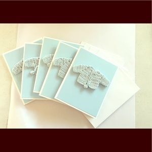 Handmade all occasion 5 baby boy blue cards .